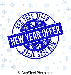 New Year Offer Scratched Round Stamp Seal for New Year