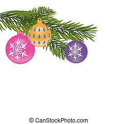 New Year or Christmas background. Fur-tree branch with multi-colored balls. illustration