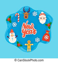 New Year Papercut Concept. Vector Illustration. Merry...