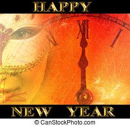 new year party background with masked woman and clock