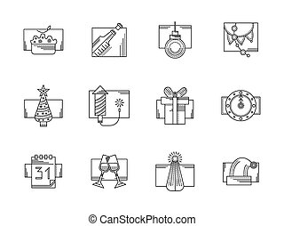 New Year party black line vector icons set