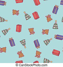 New Year pattern. Christmas tree, teddy bear, boxes with gifts on a blue background