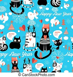 New Year pattern with cheerful cats