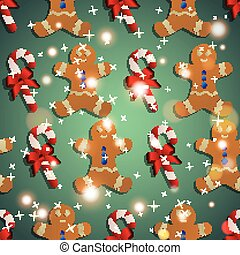 New year pattern with the gingerbread man and candy striped