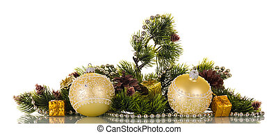 New-year pine branch decorated with balls and beads, isolated on white