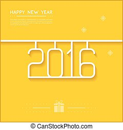 New Year Poster 2016 Line Art Design Vector Illustration