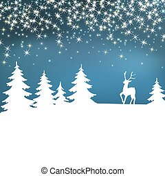 New Year Poster. Christmas background. Winter landscape with deer. White fairy forest.