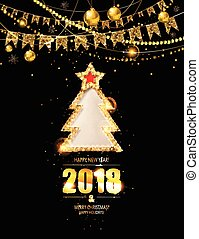 New year poster with a gold tree