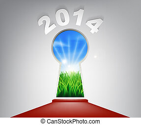 New Year Red Carpet 2014 Keyhole - A conceptual illustration...