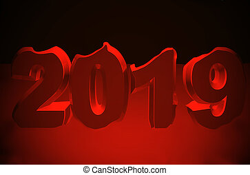 New year red text 2019 3d rendering