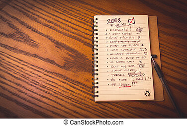 New year resolution list - Photograph of a notebook with...
