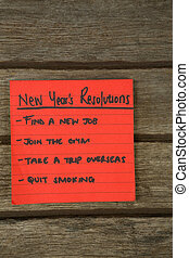 New year resolution written on sticky notes