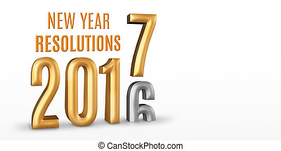 New Year Resolutions 2016 gold number year change to 2017 new year in white studio room, New year concept,3D rendering, Leave space for display your content
