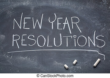 New Year resolutions blackboard banner