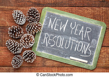 new year resolutions blackboard sign