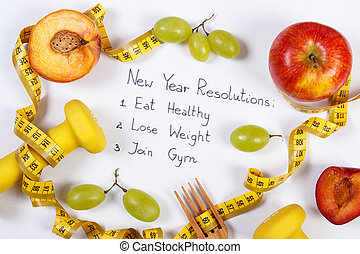 New year resolutions, fruits, dumbbells and centimeter,...