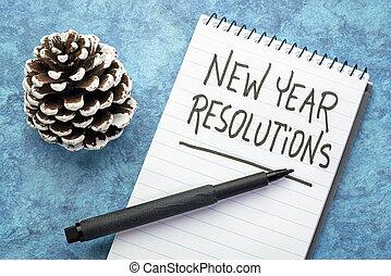 New Year resolutions handwriting