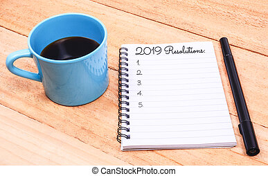New Year Resolutions List on Notepad