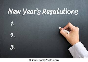 New Year resolutions - The word New year resolutions written...