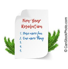 New year resolutions. Realistic vector curl paper sheet with...