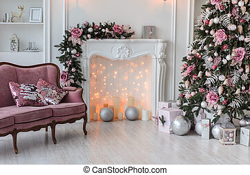 New Year room with Christmas decoration