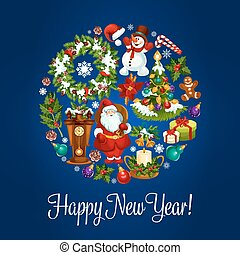 New Year round poster for winter holidays design