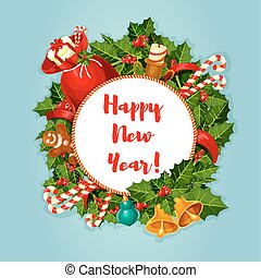 New Year round poster with decorations