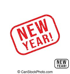 New Year rubber stamp with grunge texture design