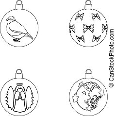 New Year s Toys outline icons in set collection for design. Christmas balls for a treevector symbol stock web illustration.
