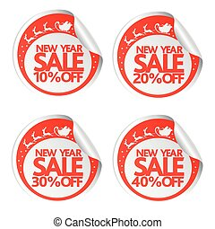 New Year sale stickers 10,20,30,40 with santa ,deer and sleigh