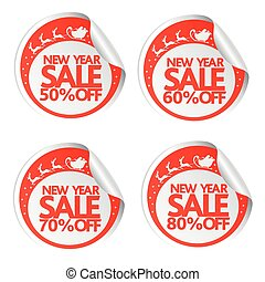 New Year sale stickers 50,60,70,80 with santa ,deer and sleigh