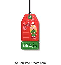 New Year Sale Tag With Elf Girl Isolated On White Background