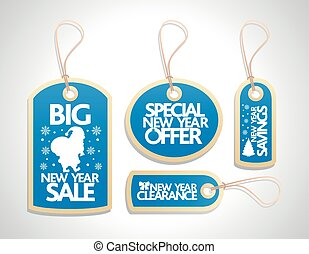 New Year Sale Tags Set ,blue