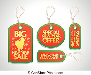 New Year sale tags with santa set