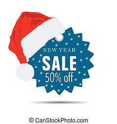 new year sale with christmas hat illustration