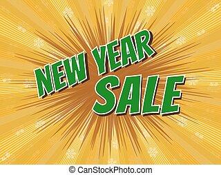 new year sale, wording in comic speech bubble on burst background