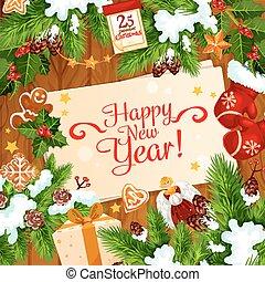 New Year Santa gifts vector greeting card
