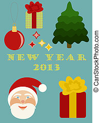 New Year scrap-booking elements.