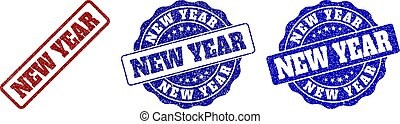 NEW YEAR Scratched Stamp Seals