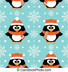 New Year seamless with penguin