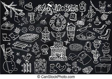New year season doodle icons,symbols.Chalk