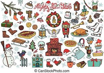 New year season doodle icons,symbols.Colored
