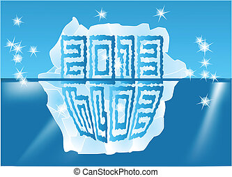 New Year sign on an iceberg