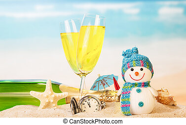 New year sign with champagne, snowman on the beach...