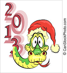New Year snake in the red hat, 2013