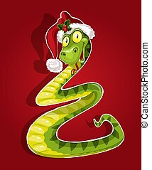 New Year Snake on red background