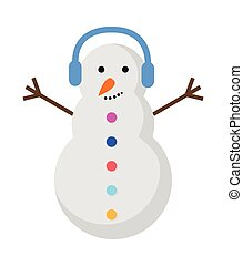 New Year Snowman with Blue Earphones on Head.