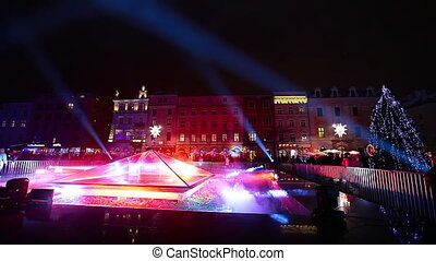 New Year spotlight, Krakow, Poland