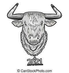 New year, steel bull head with chain 2021. Sketch scratch board imitation. Engraving vector illustration.
