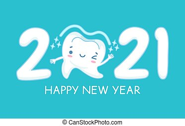New year teeth. Happy holiday 2021 year banner with funny healthy white tooth, childrens dentistry, oral hygiene care dental vector concept